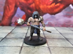 Dwarf Barbarian with Maul and mask in Smooth Fine Detail Plastic