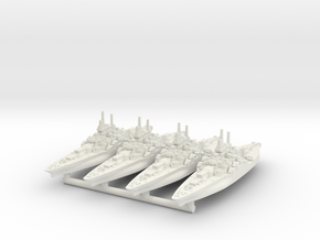 Tennessee Class Battleship (1942) [x4] in White Natural Versatile Plastic