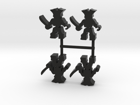 Pirate Skeleton Meeple, hook, 4-set in Black Natural Versatile Plastic