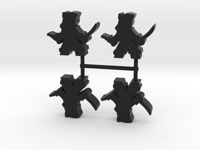 Pirate Meeple Lass, sword pistol, 4-set in Black Natural Versatile Plastic