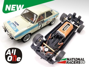 Chassis - Scalextric Ford Escort MK1 (Inline AiO) in Black Natural Versatile Plastic