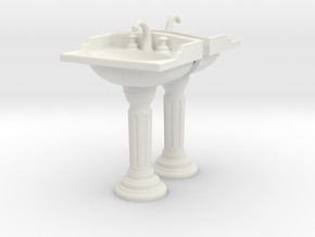 Toilet Sink Ver02. 1:24 Scale in White Natural Versatile Plastic