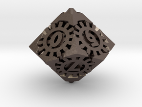 Steampunk D10 hollow in Polished Bronzed-Silver Steel: d10