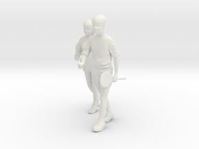 1/24 Badminton Couple in White Natural Versatile Plastic