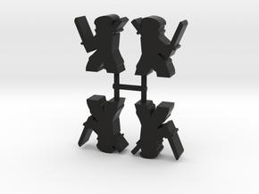 Ninja Meeple, ready katana, 4-set in Black Natural Versatile Plastic