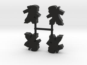 Ninja Meeple, stealthy, 4-set in Black Natural Versatile Plastic