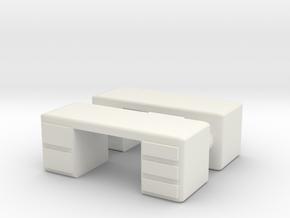 Office Desk (x2) 1/100 in White Natural Versatile Plastic