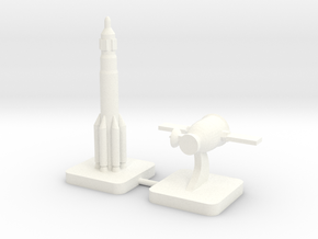 Mini Space Program, Proton Soyuz 7K-L1, 2-set in White Processed Versatile Plastic