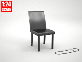 1:24 Dining Room Chair for Dollhouses in Black Natural Versatile Plastic