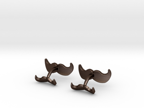 Mustache Cufflinks in Matte Bronze Steel