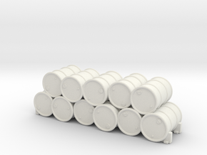 28mm Stack of 50 Gallon Drums in White Natural Versatile Plastic