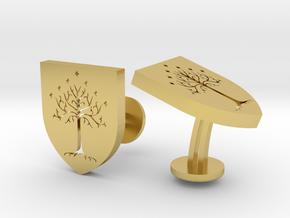 LOTR White Tree Of Gondor Cufflinks in Polished Brass