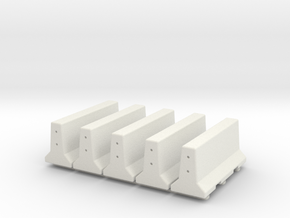 5 X 28mm Concrete Barriers in White Natural Versatile Plastic