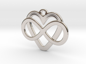 Infinity Heart Pendant  in Platinum