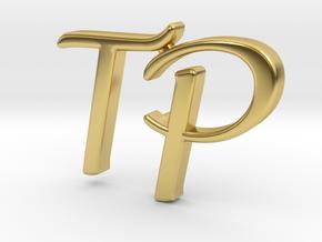 Custom Monogram Lapel Pin in Polished Brass