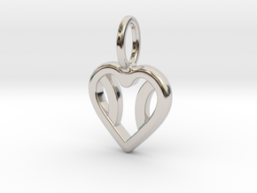 One Love Tennis Heart Pendant in Rhodium Plated Brass