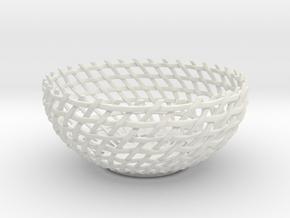 Basket Bowl in White Natural Versatile Plastic