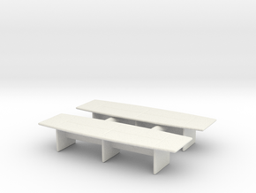 Modern Office Desk (x2) 1/100 in White Natural Versatile Plastic