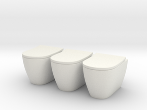 Toilet 03. 1:24 Scale  in White Natural Versatile Plastic