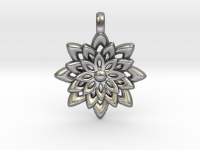 Lotus Flower Symbol Jewelry Necklace in Natural Silver