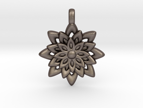 Lotus Flower Symbol Jewelry Necklace in Polished Bronzed Silver Steel