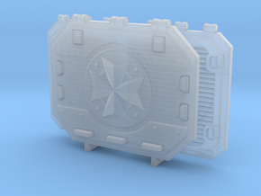 Hover Tank Doors (Set) - Cross in Smooth Fine Detail Plastic