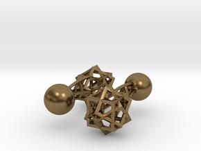 Tricube Cufflinks in Natural Bronze