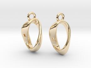Mobius 1 Sided Die Earrings in 14K Yellow Gold