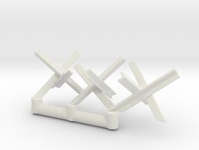 Tank Trap set (x3) 1/87 in White Natural Versatile Plastic