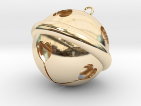 Kawaii Jingle Bell 3cm Golden Christmas Cat in 14k Gold Plated Brass