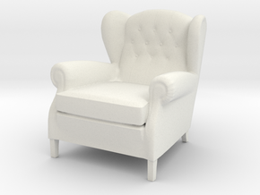 ArmChair 03.1:24 Scale in White Natural Versatile Plastic