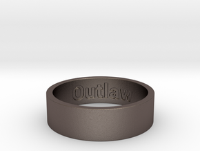 Outlaw Mens Ring Size 13 (Engraved Inside) in Polished Bronzed Silver Steel