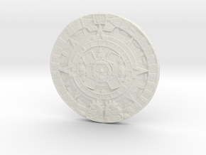 Aztec Calendar Coin in White Strong & Flexible