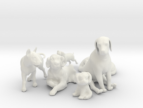 1/24 Dogs Collection for Diorama in White Natural Versatile Plastic
