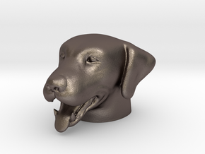 Dog - Panting in Polished Bronzed Silver Steel