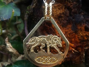Celtic Zodiac Wolf Pendant  in Natural Brass