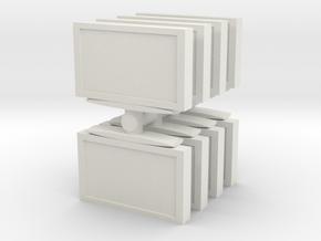 Television (x8) 1/76 in White Natural Versatile Plastic