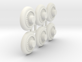 Wooden Railway Wheel - Full Size - 6 Pack in White Natural Versatile Plastic