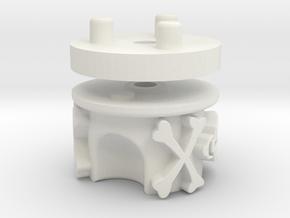 Emek/Etha 2 Two Piece Bolt Cap - Jolly Roger in White Natural Versatile Plastic