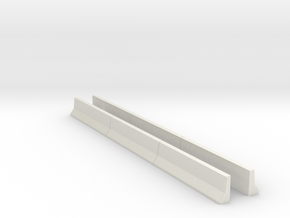 Concrete K-Rail Lane Barrier (N scale) in White Natural Versatile Plastic
