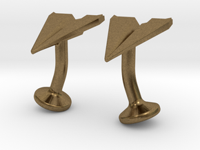 Paper Airplane Cufflinks in Natural Bronze