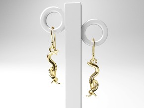C. elegans Nematode Worm Earrings in 14k Gold Plated Brass