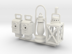 1:16 German WW2 Lamps and Lanterns Set 1 in White Natural Versatile Plastic