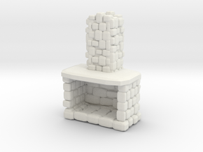 Stone Fireplace 1/48 in White Natural Versatile Plastic