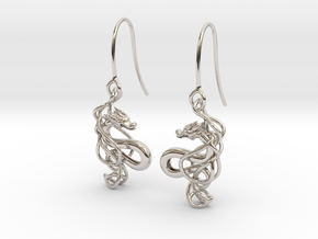 Mountain dragon earring in Rhodium Plated Brass