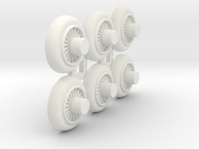 Wooden Railway Wheel - 75% Size - 6 Pack in White Natural Versatile Plastic