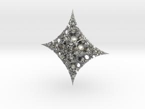 Mandelbulb fractal ornament in Natural Silver