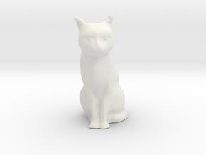 1/18 Sitting Cat in White Natural Versatile Plastic