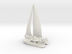 Yacht and Sailboat.N Scale (1:160) in White Natural Versatile Plastic