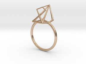 modern abstract minimalist diamond geometric ring in 14k Rose Gold Plated Brass: 7 / 54